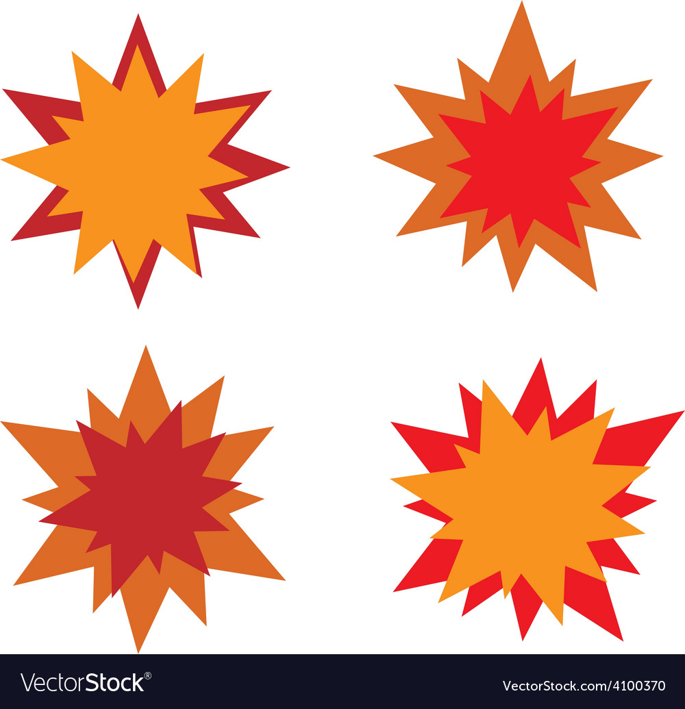 Burst star icons Red and orange vector image