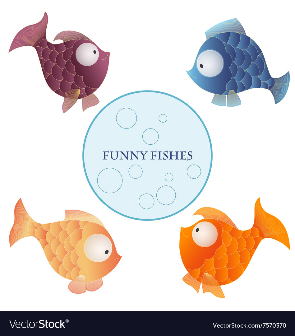 Cartoon characters funny fishes isolated on white