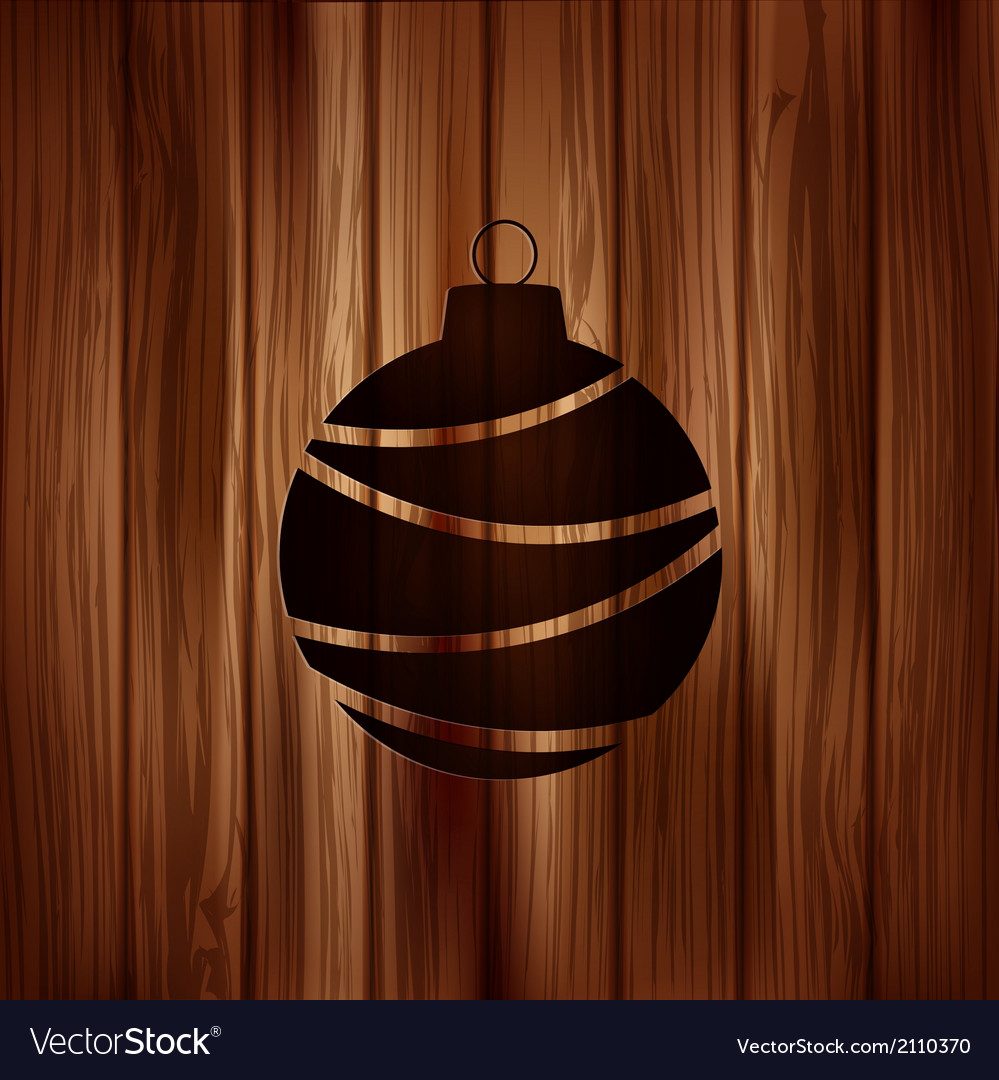 Christmas ball icon wooden background