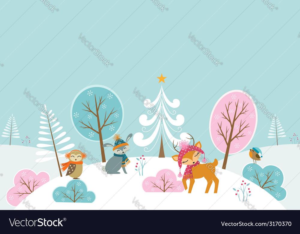 Christmas woodland landscape vector image