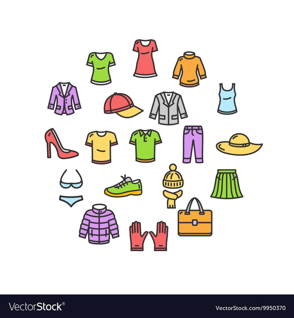 Clothes Round Design Template Thin Line Icon