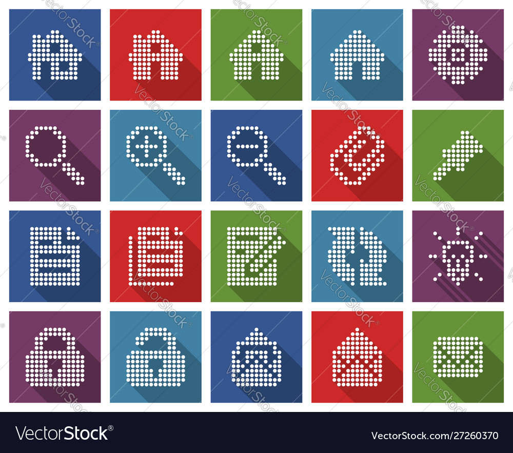 Collection square dotted icons user interface