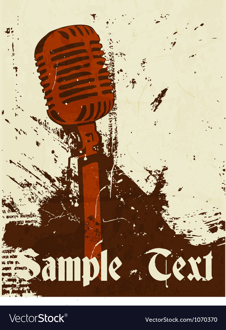 Grunge concert poster with microphone