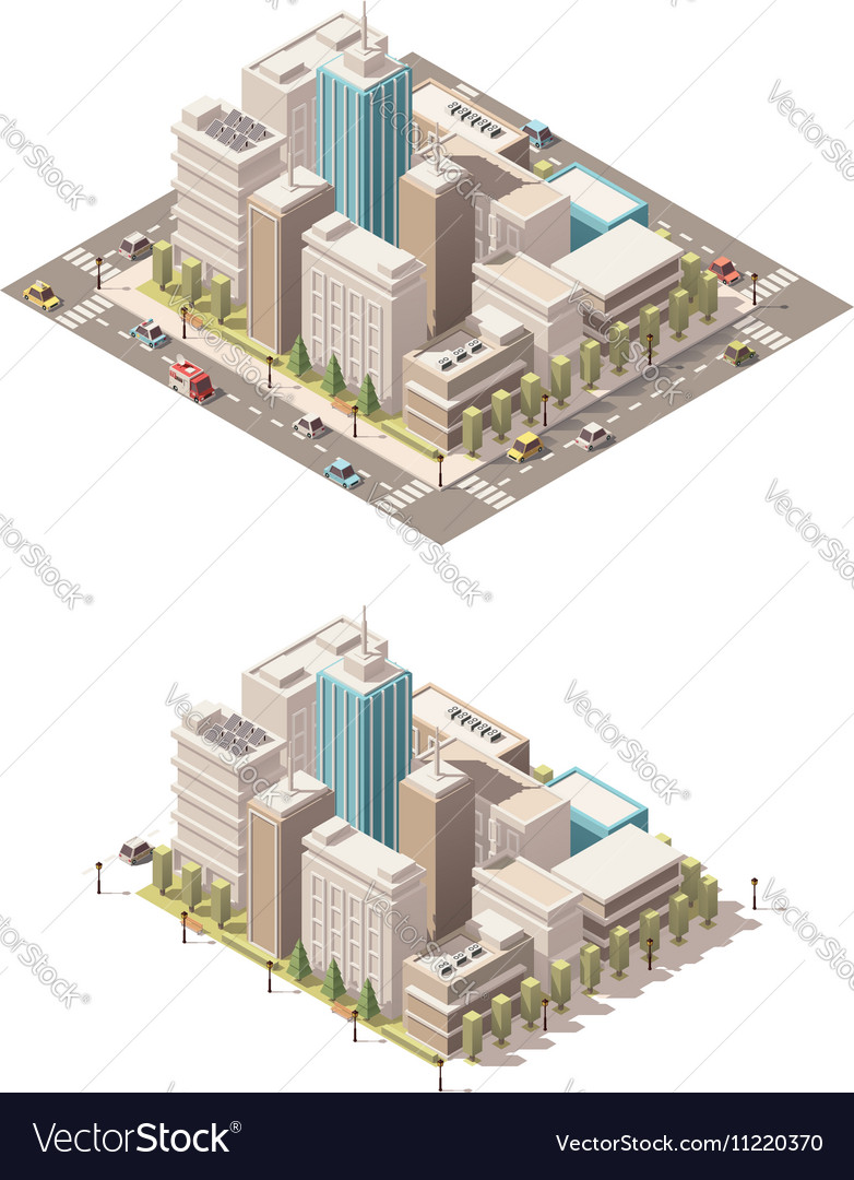 Isometric low poly city downtown