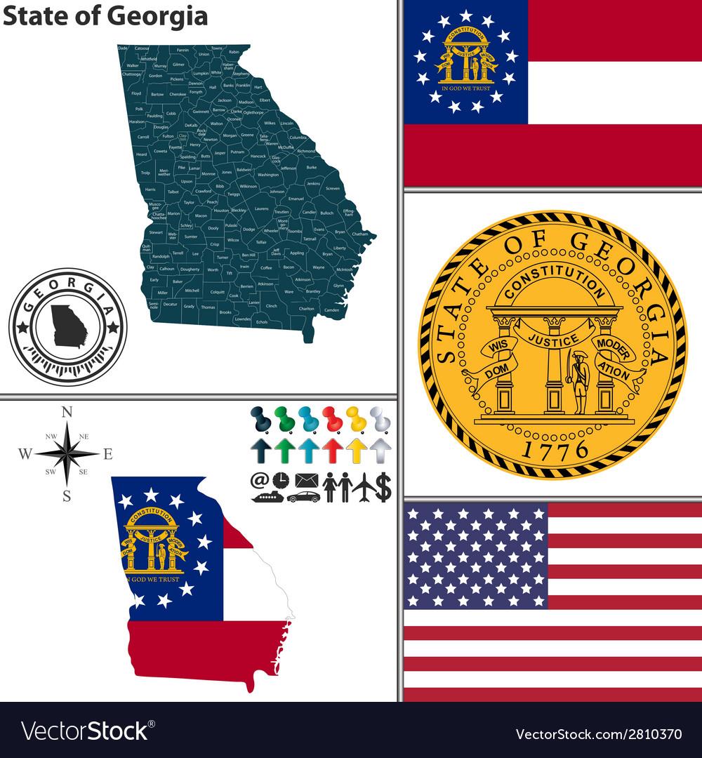 Map georgia with seal
