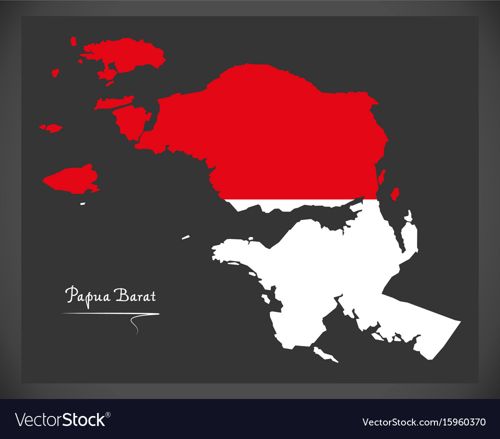 Papua barat indonesia map with indonesian