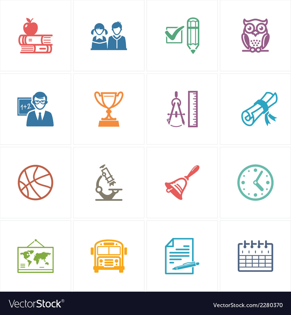 School and Education Icons Set 3 - Colored Series