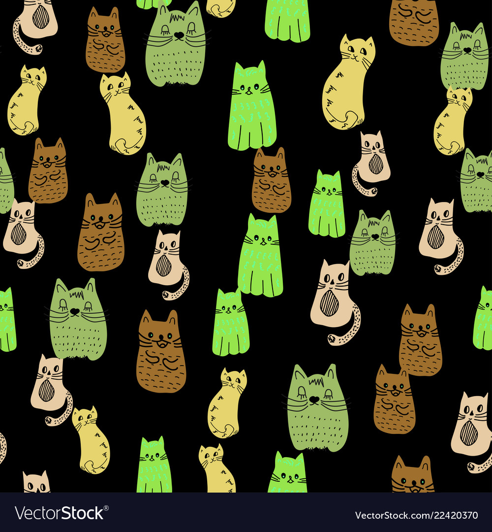Seamless pattern colorful doodle cats group