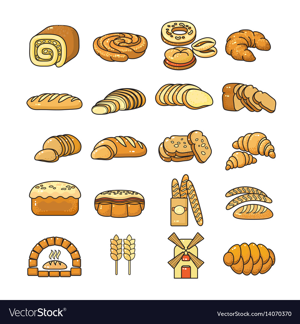 Set of colorful bakery icon isolated o vector image