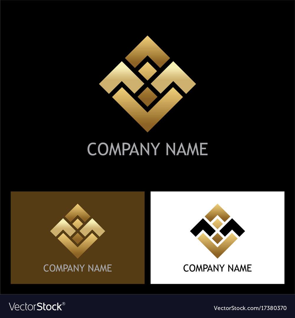 Square shape gold business logo