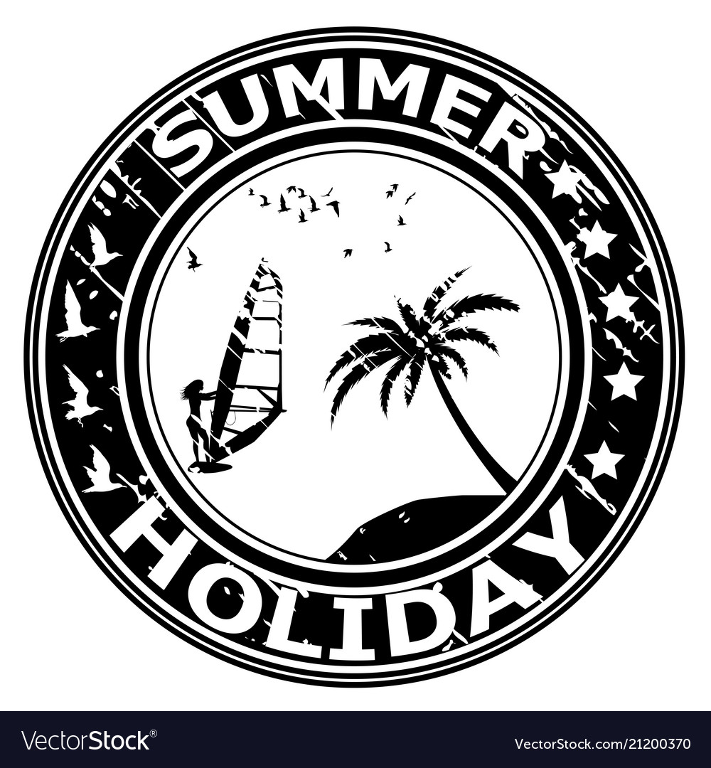 Summer holiday rubber stamp with palm tree and