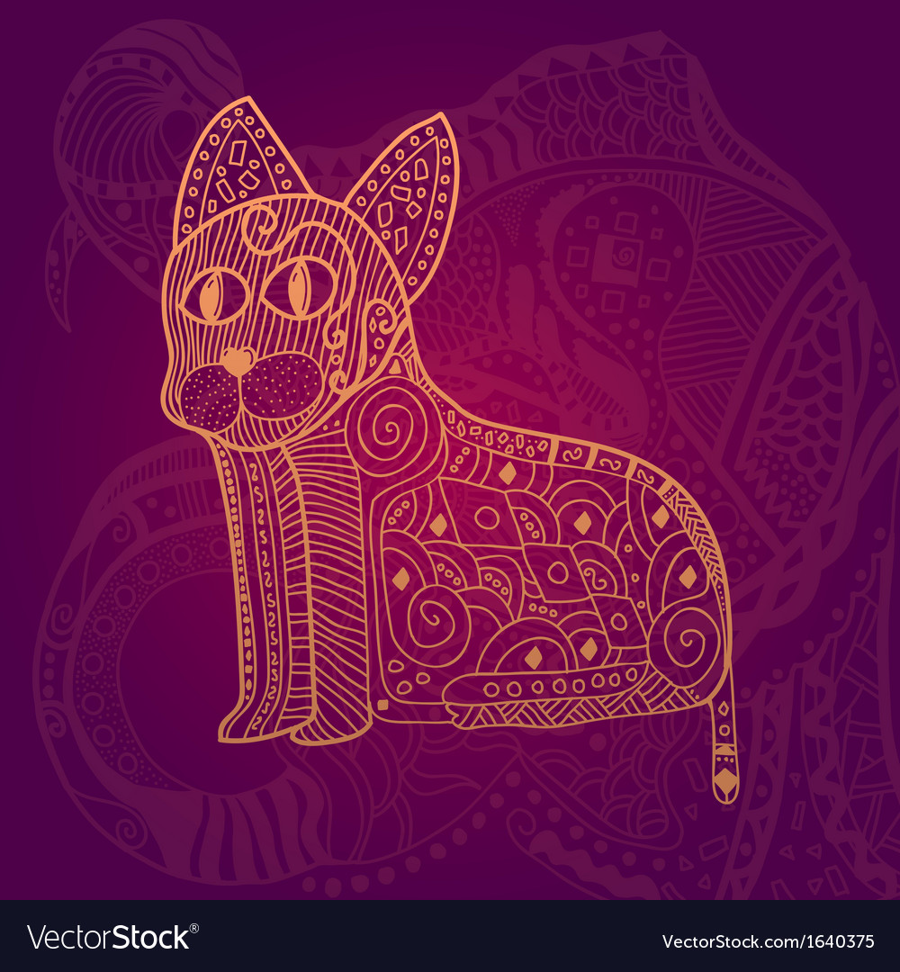 Abstract lace cat card