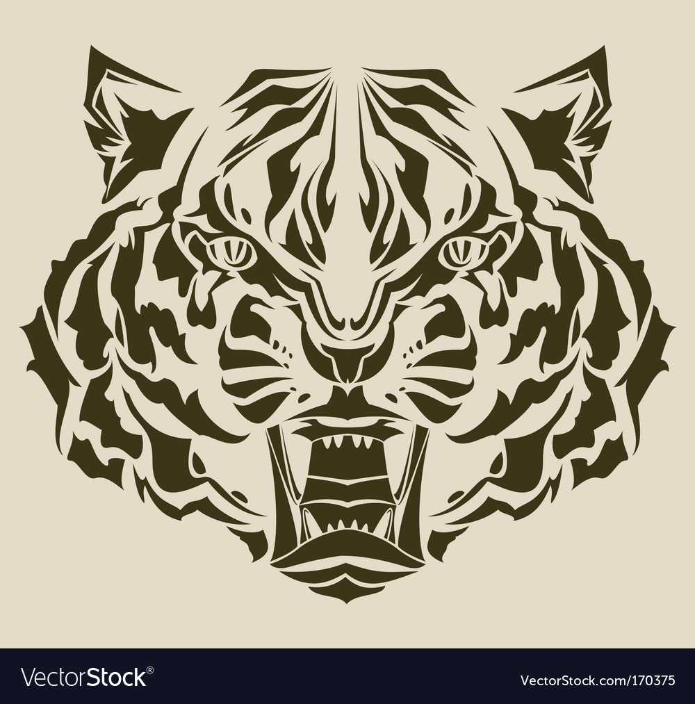 Angry tiger silhouette