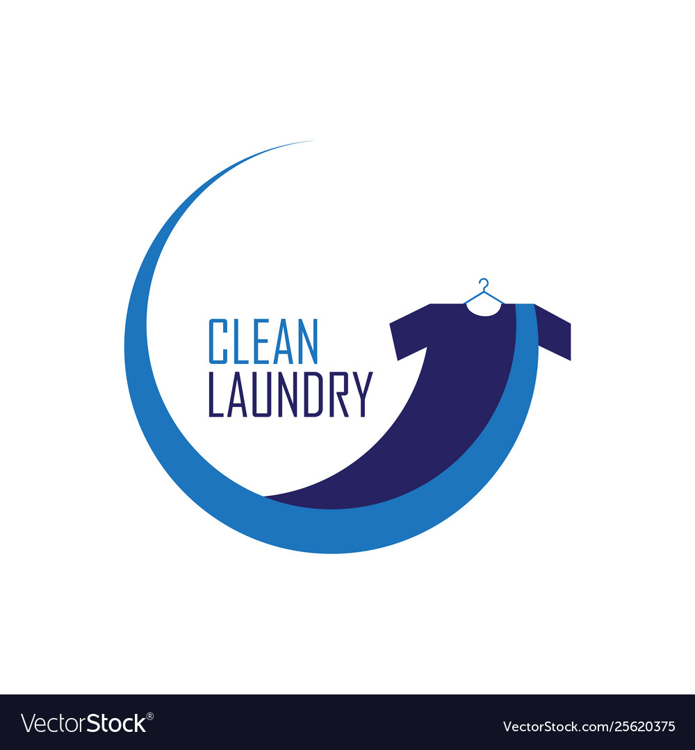 blue clean laundry logo royalty free vector image vectorstock