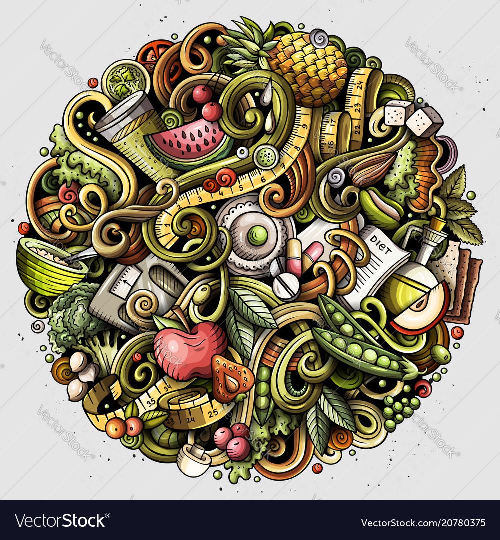Cartoon doodles diet food
