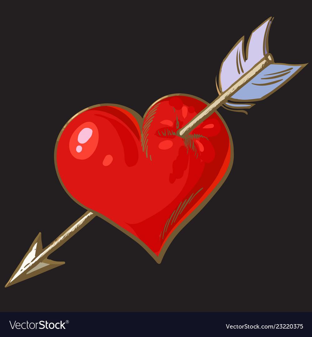 Cartoon red heart pierced arrow element