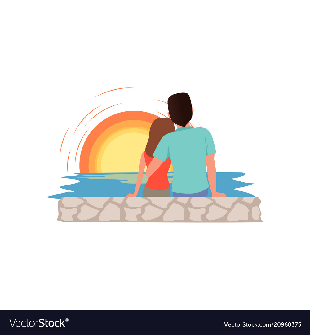 Couple in love sitting on the beach and admiring vector image
