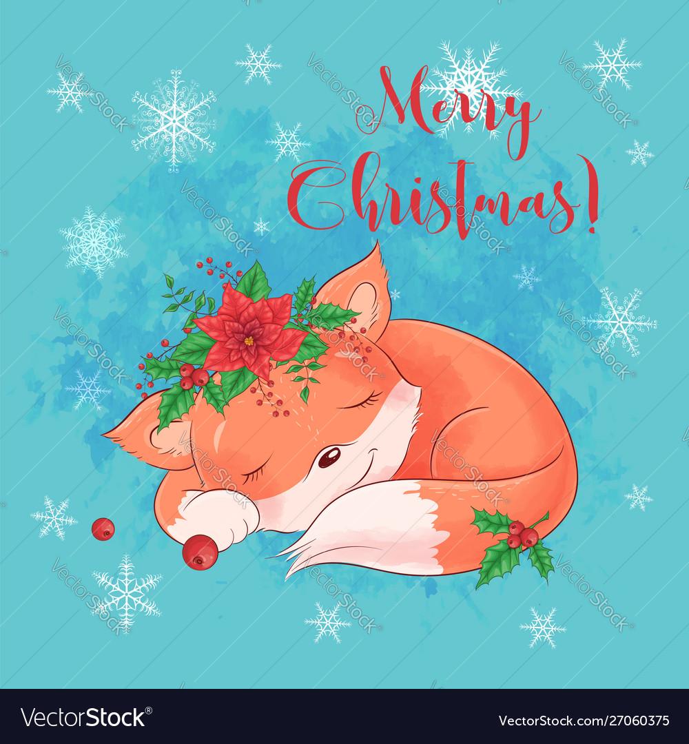 Cute cartoon sleeping fox greeting card for new