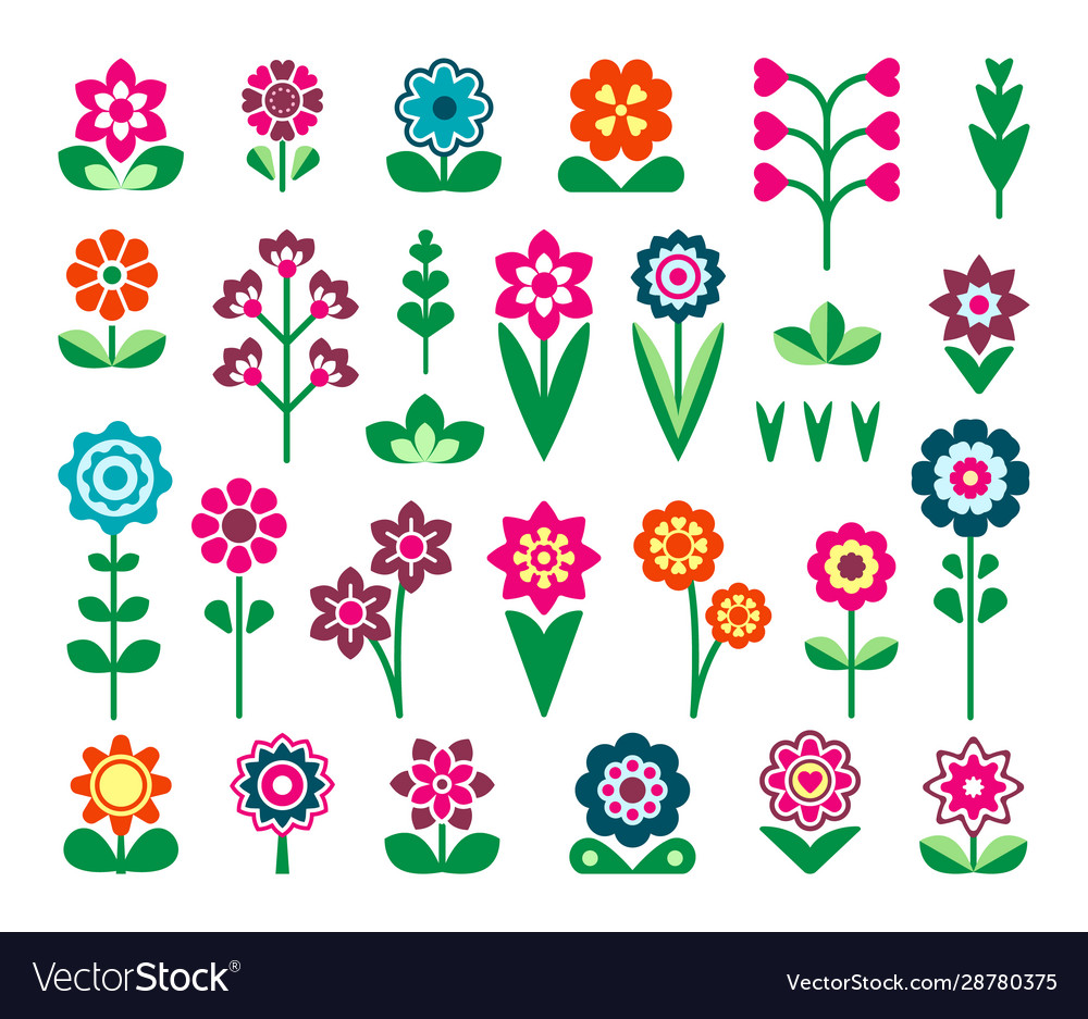 Field and garden lowers flat color icons set