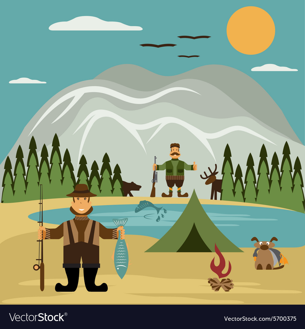 Flat design with fisherman and hunter