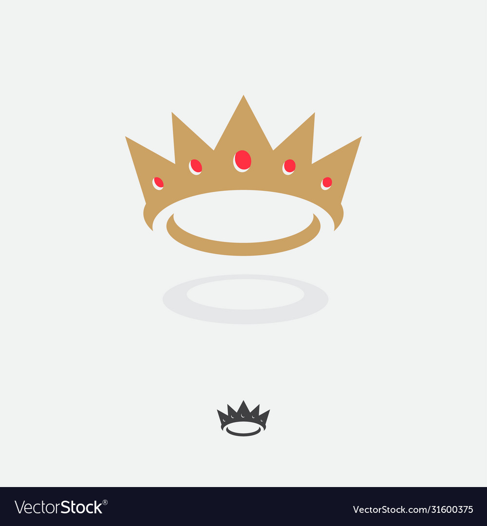 Gold king crown with red gems icon