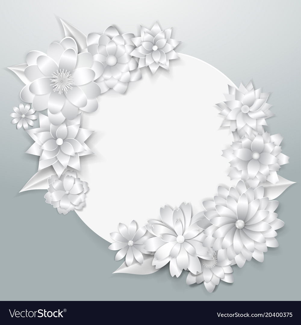 Greeting card template with paper flowers vector image maxwellsz