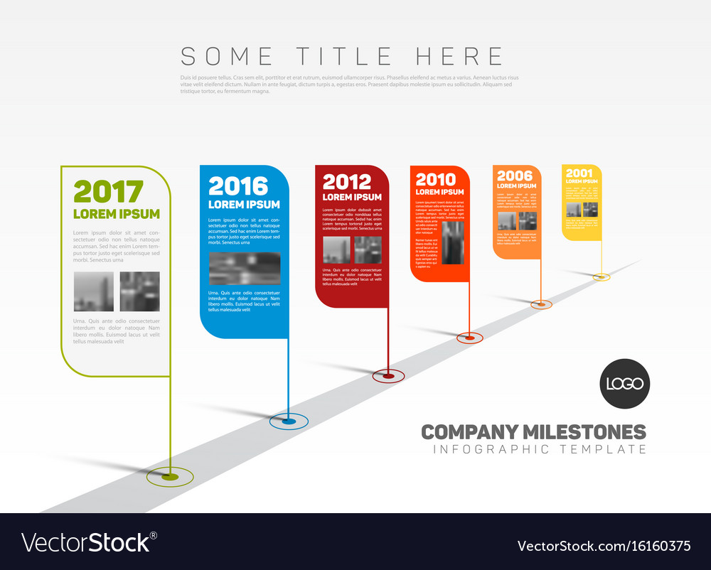startup milestone template - infographic company milestones timeline template vector image