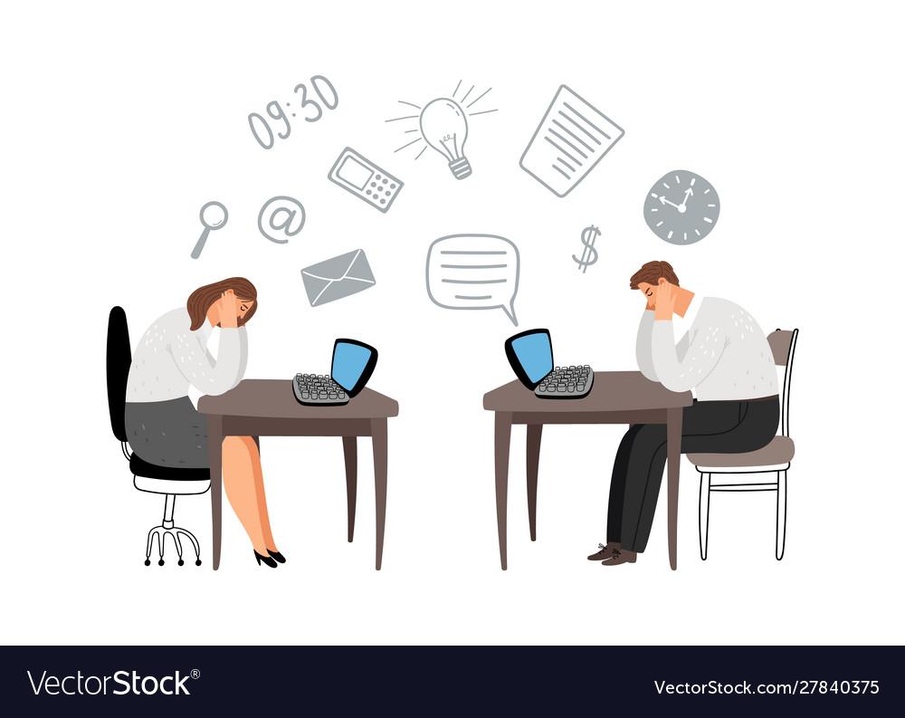 Overworked people deadline concept