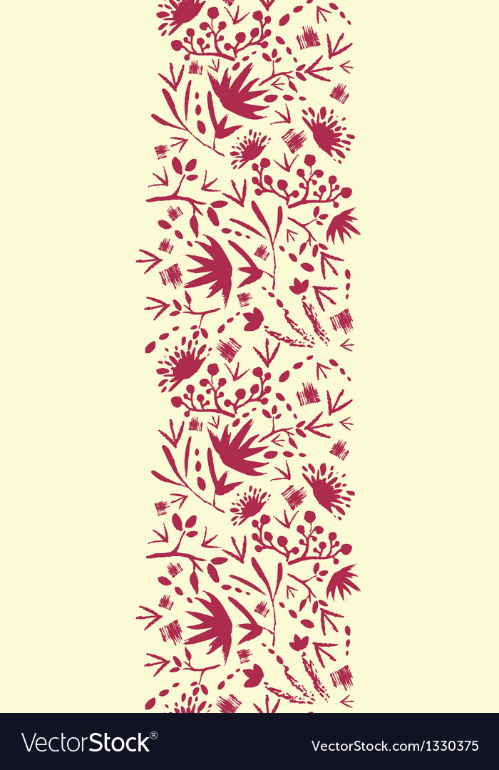 Painted abstract florals vertical seamless pattern