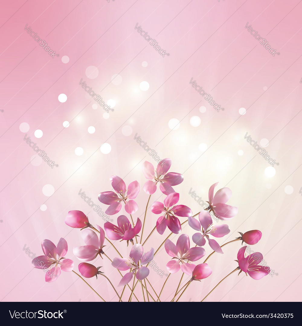 Shining pink flowers background