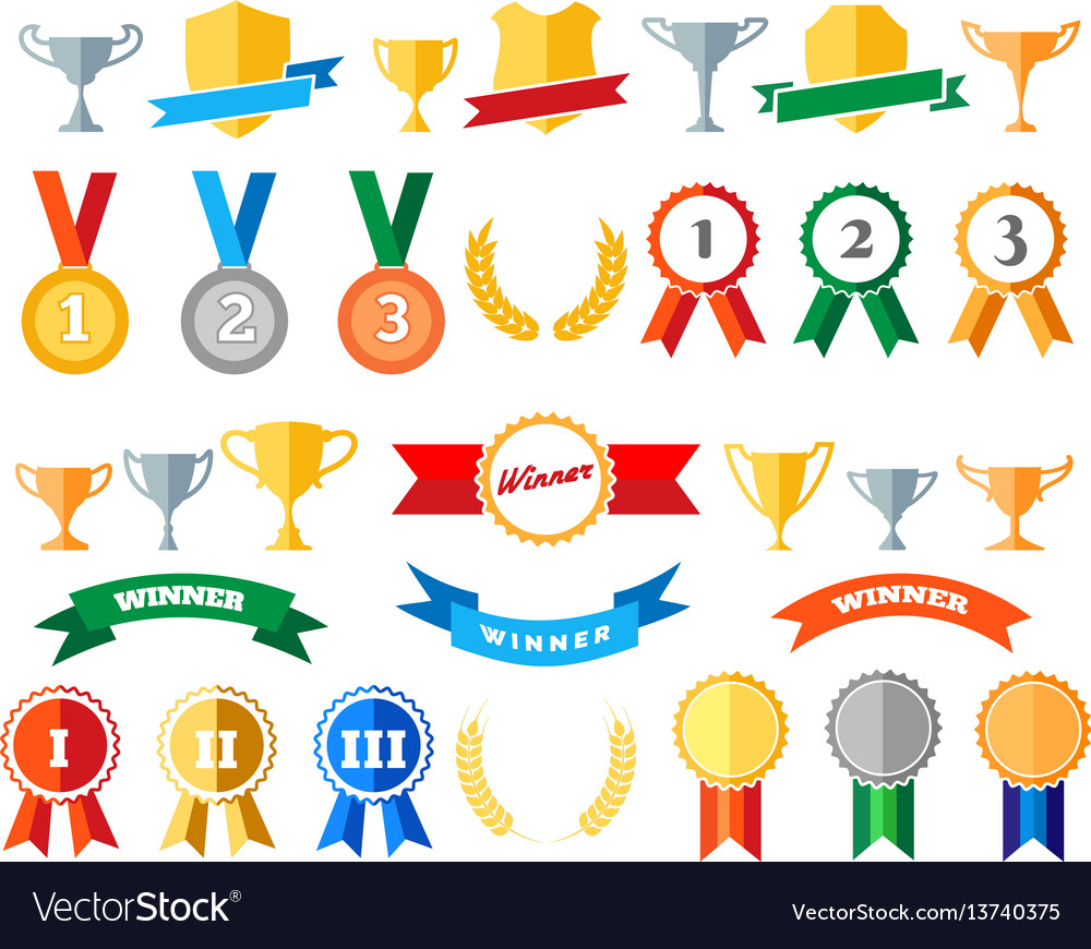 Trophy and awards isolated on white