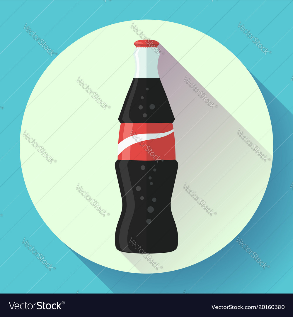 Cola bottle soda bottle with red lable flat