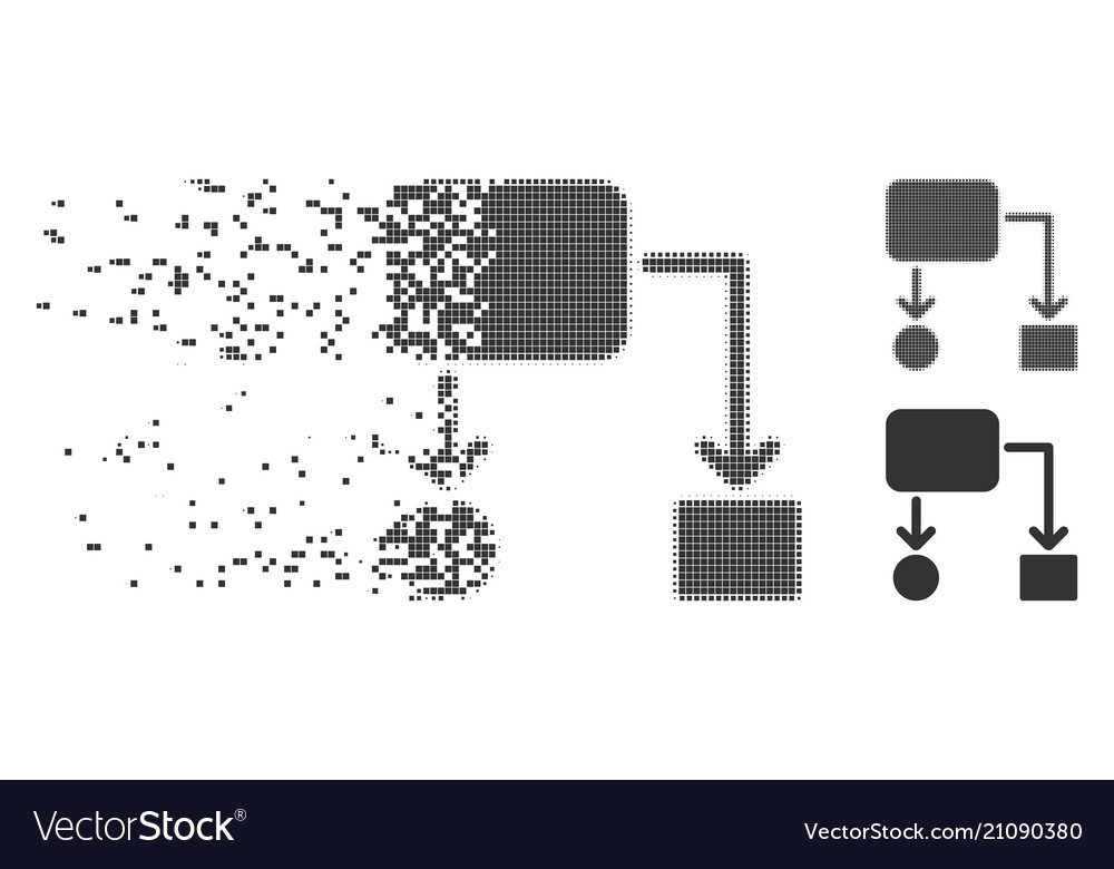 Damaged Pixel Halftone Flow Chart Icon Royalty Free Vector
