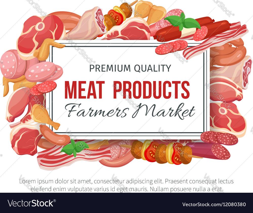 Gastronomic meat products banner menu design vector image