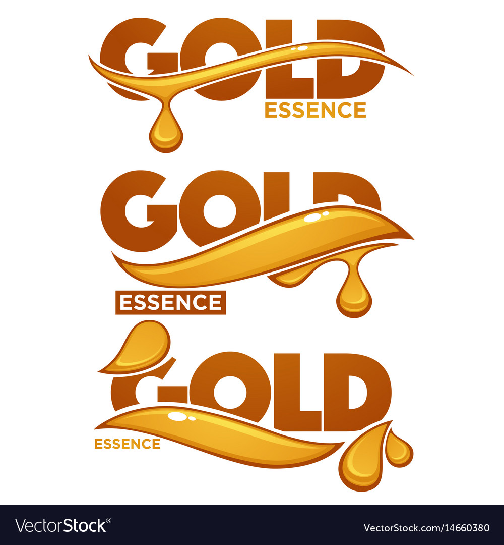 Golden oil drops collagen essence gold serum vector image