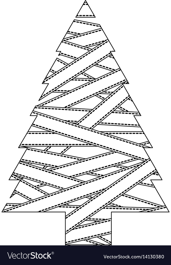 Monochrome christmas tree silhouette covered by vector image