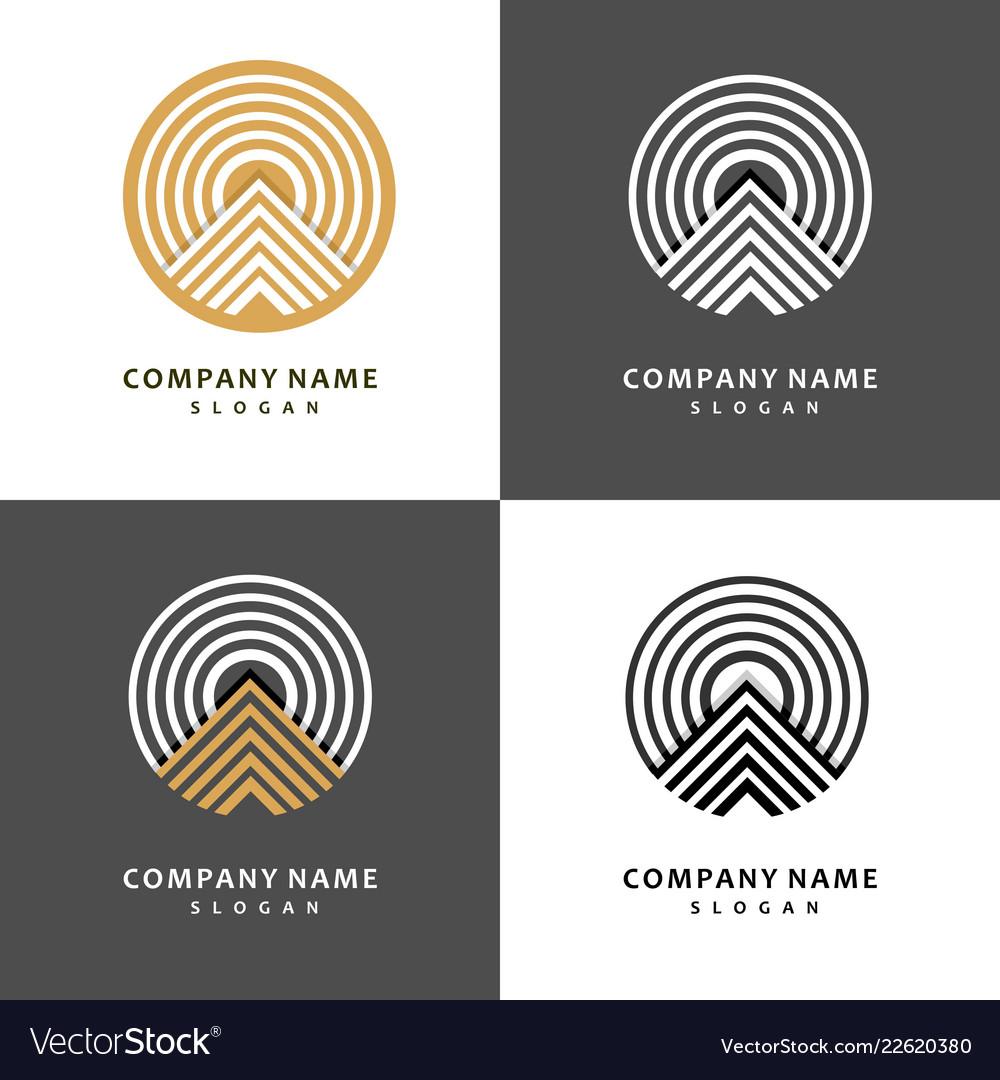 Mountain logo template set stylish and graceful