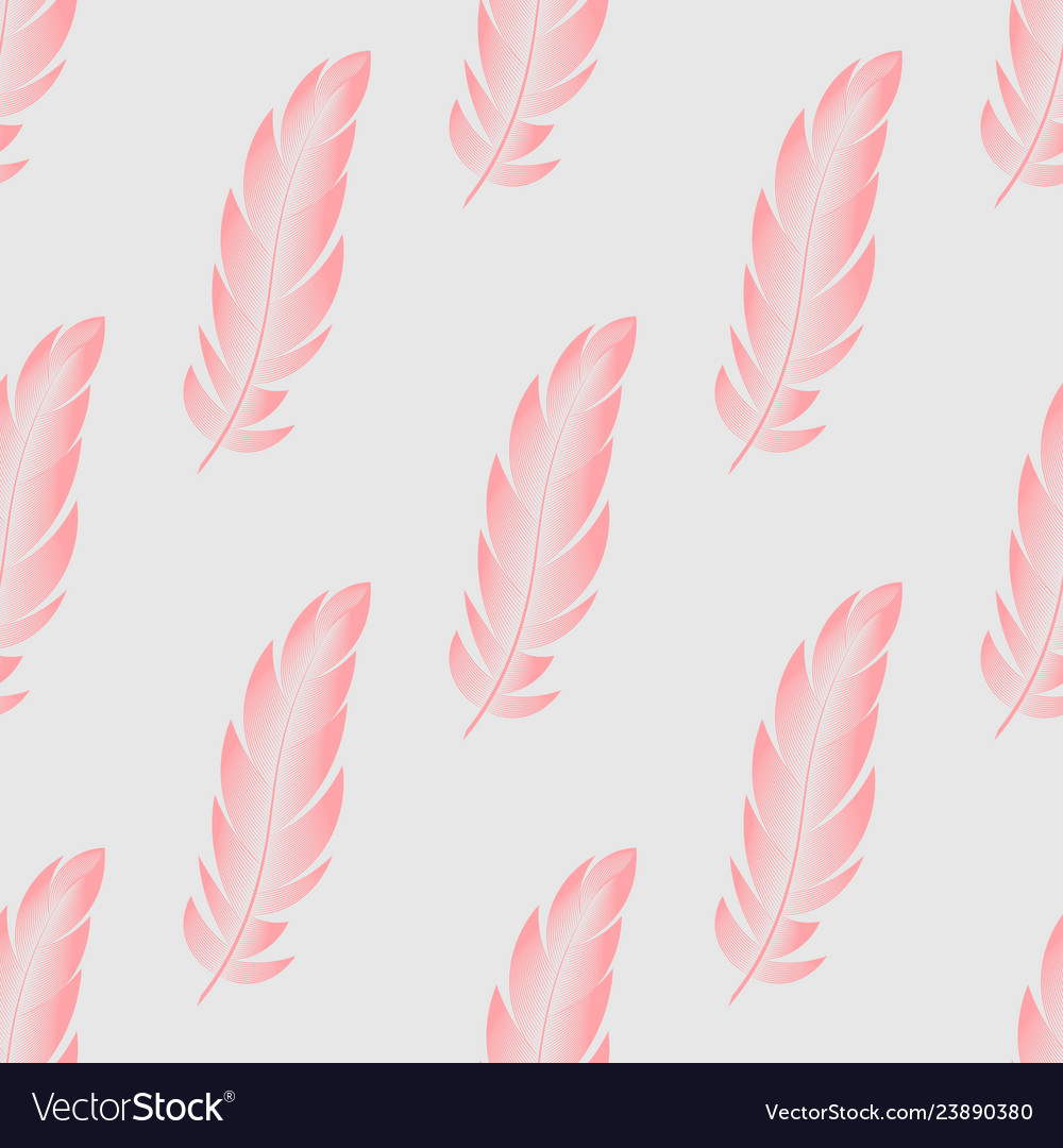 Seamless pattern with pink feathers of