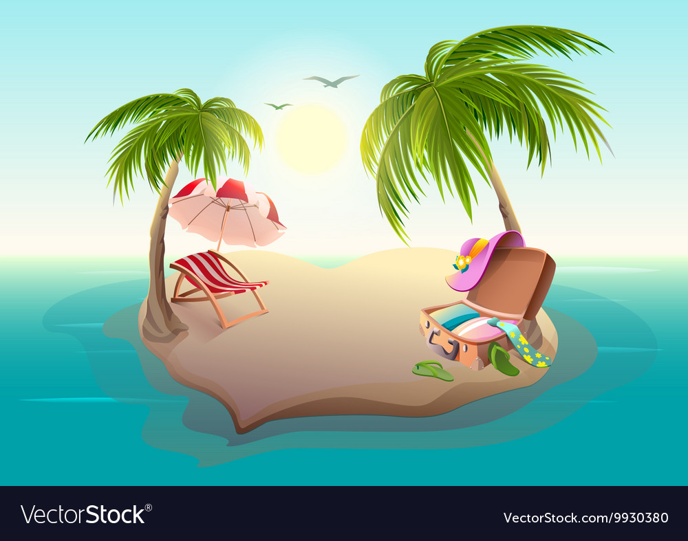 Tropical island and palm trees in blue sea vector image