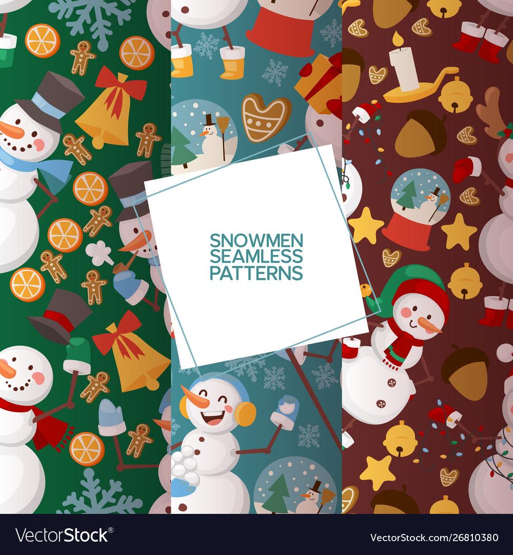 Winter holidays snowman set seamless patterns