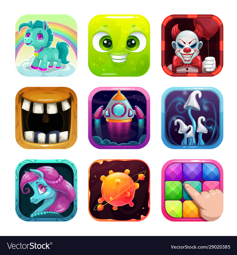 Cartoon app icons for game or web design