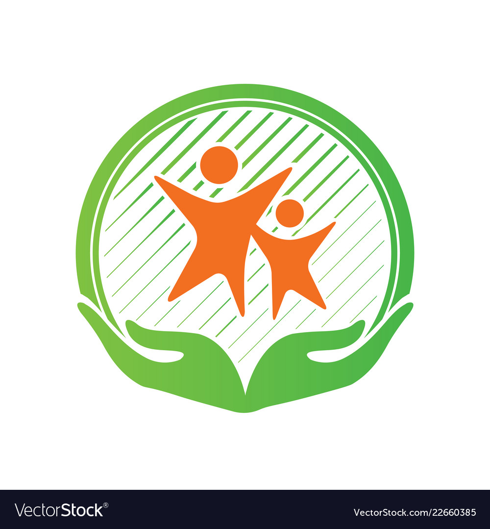 Child care center logo design hands holding kids