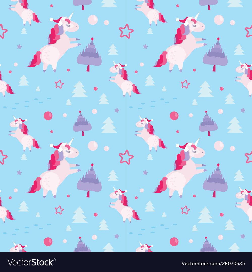 Christmas seamless pattern with unicorns fir