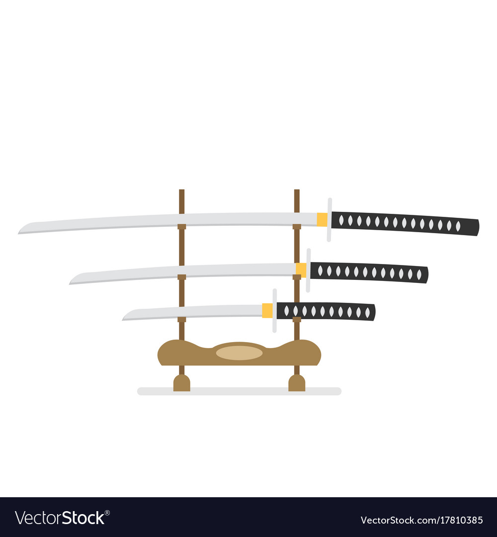 Flat katana icon isolated on white background