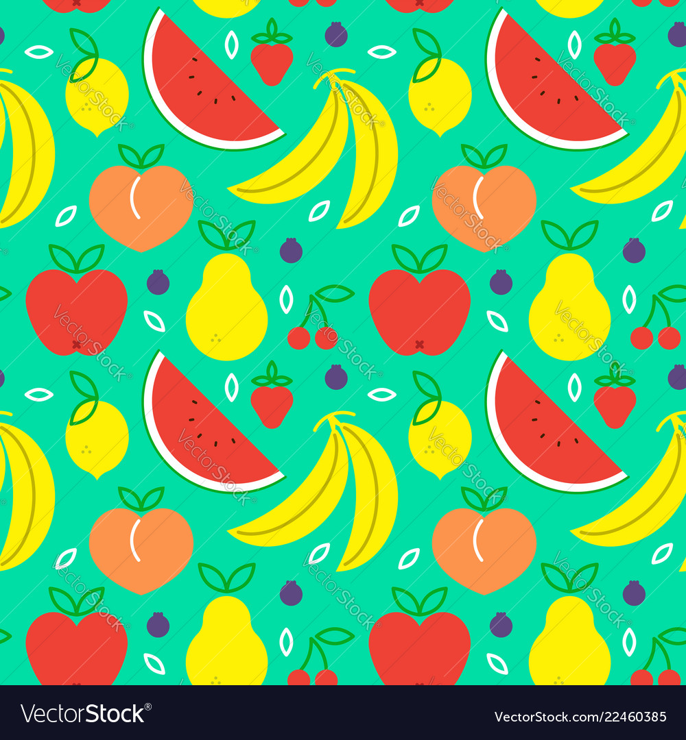 Fruit icon seamless pattern for healthy eating