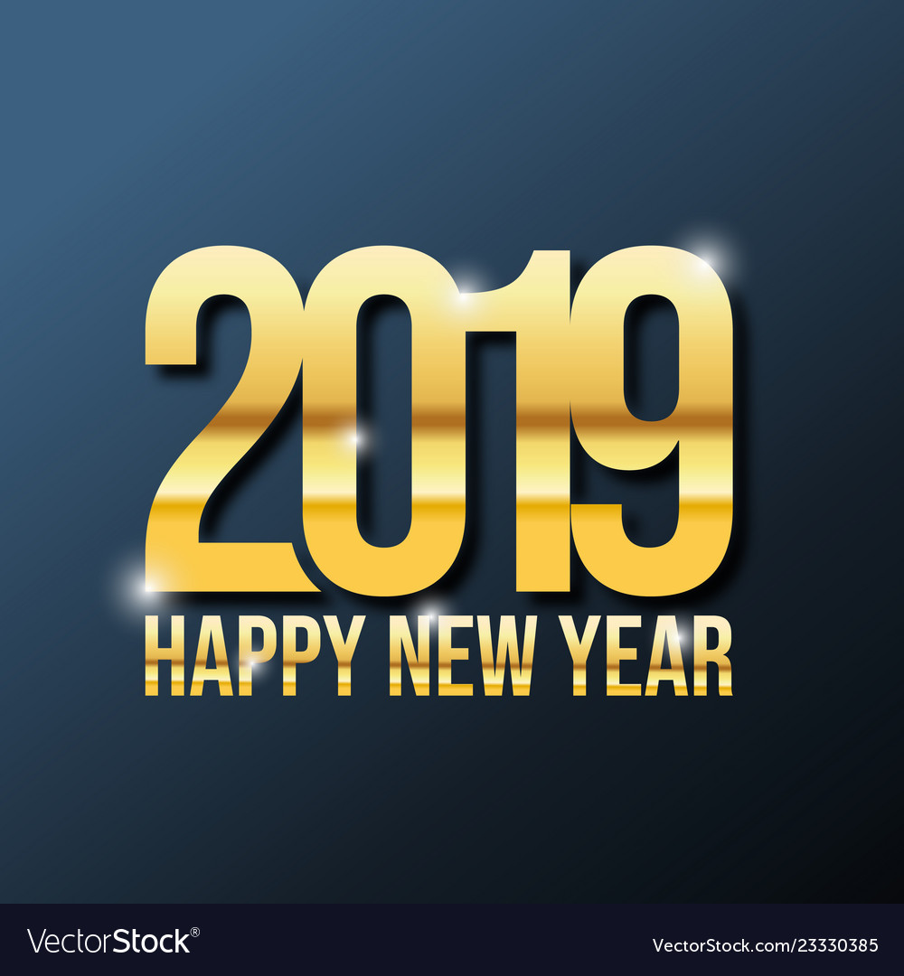 Gold 2019 new year on the dark background
