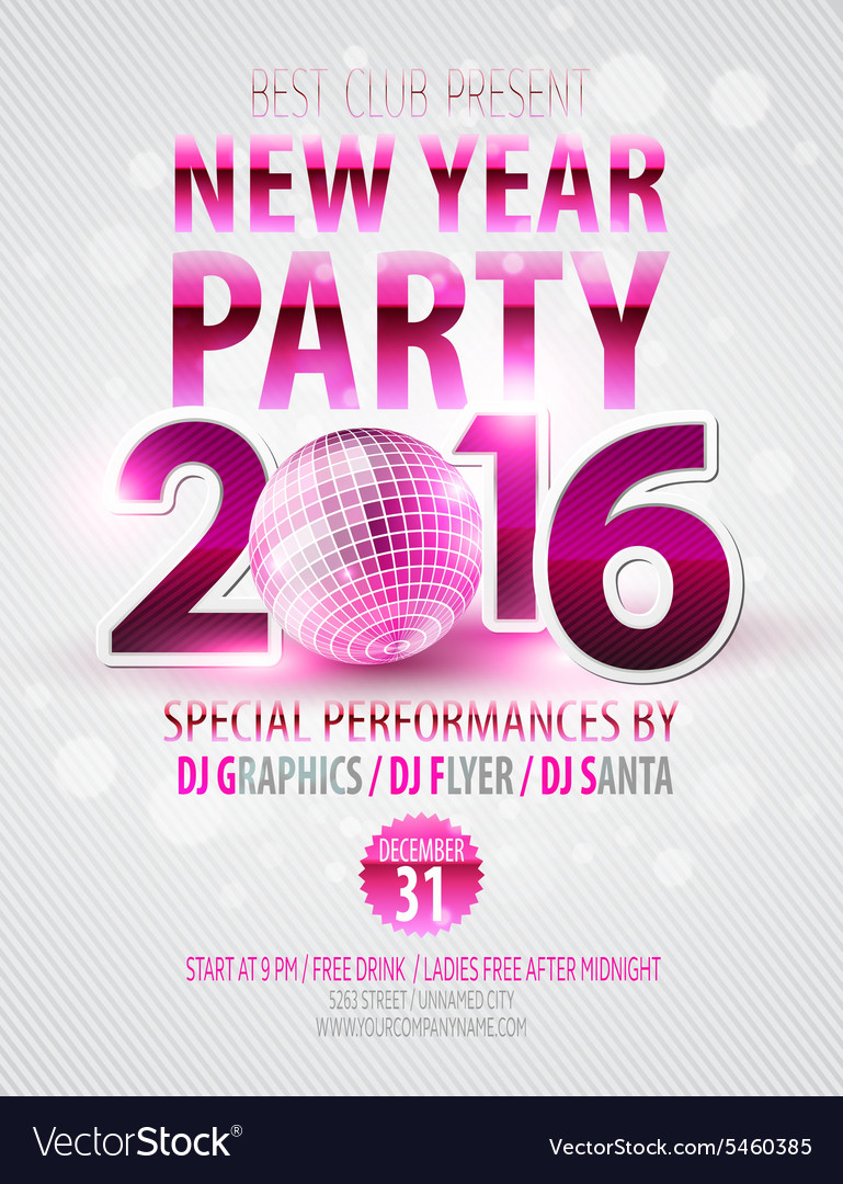 Happy New Year party poster template vector image