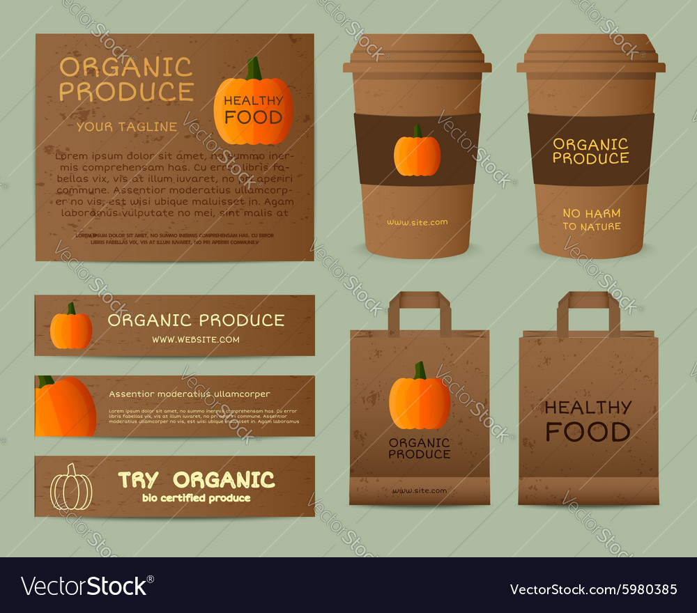 Natural business corporate identity design with vector image