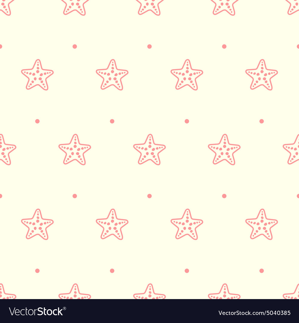 Pastel seamless pattern with sea starfish vector image