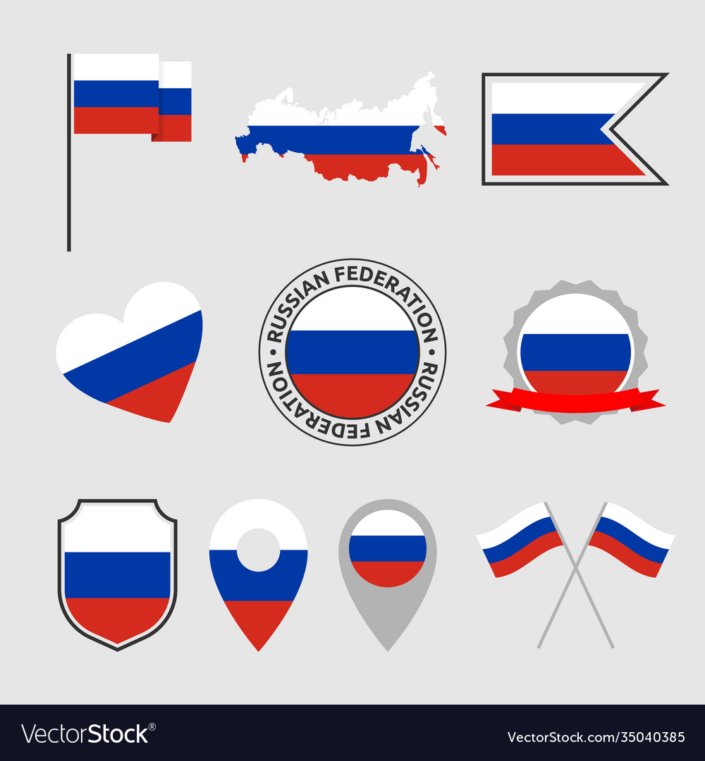 Russia flag icons set russian federation national